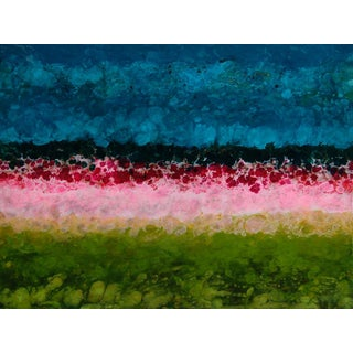 Begur, Abstracted Landscape, Painting, Mixed Media, Blue, Green, Red, Pink, Colorful For Sale