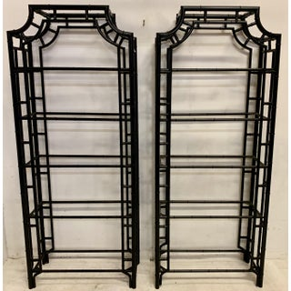 Pair of Lacquered Aluminum Faux Bamboo Pagoda Chippendale Style Etageres Preview