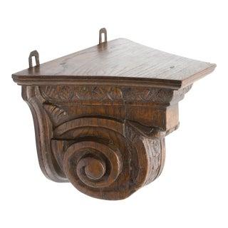 Antique 19th-Century English Carved Oak Shelf Bracket For Sale