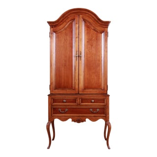 Queen Anne Style Cherry Wood Armoire Dresser by Lexington For Sale