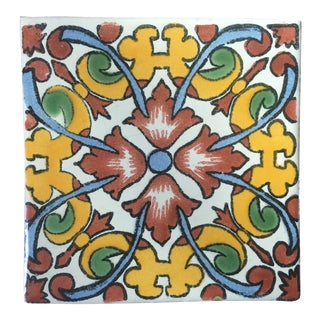 Boho Chic Hand Painted Talavera Terra Cotta Tile - Colorful Floral For Sale