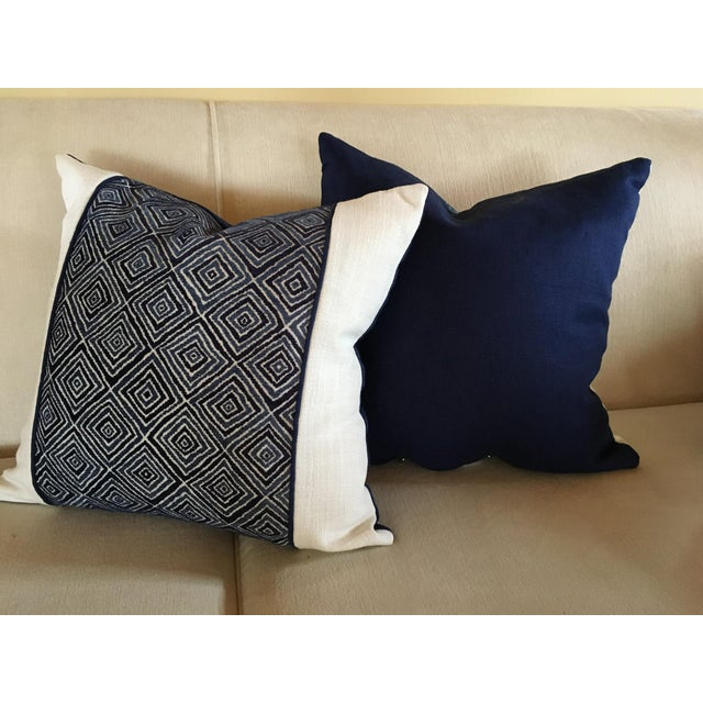 """This listing is for - 2 -18 x 18"""" Pillow Covers. White Linen on the front with Geometric Band down the center. Royal Blue..."""