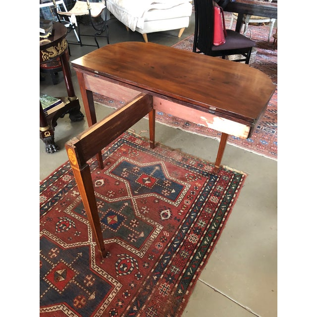 1780 Hepplewhite Inlayed Mahogany Game Table For Sale - Image 9 of 13