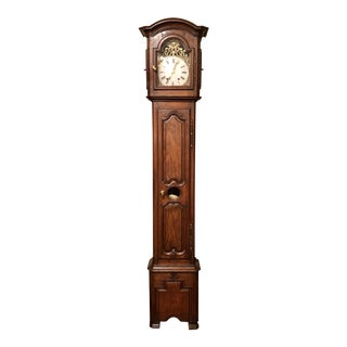 "Antique French Provincial Oak ""Morbier"" Grandfather Clock For Sale"