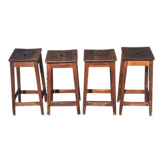Vintage French Country Farmhouse Stools - Set of 4 For Sale