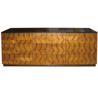 Milo Baughman for Directional Parquetry Commode in Mixed Woods For Sale