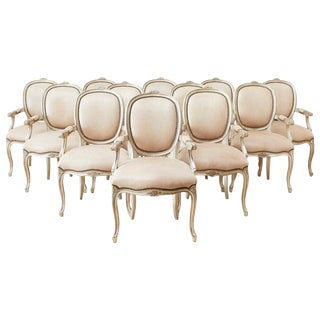 Set of Twelve French Louis XV Style Silvered Dining Armchairs For Sale
