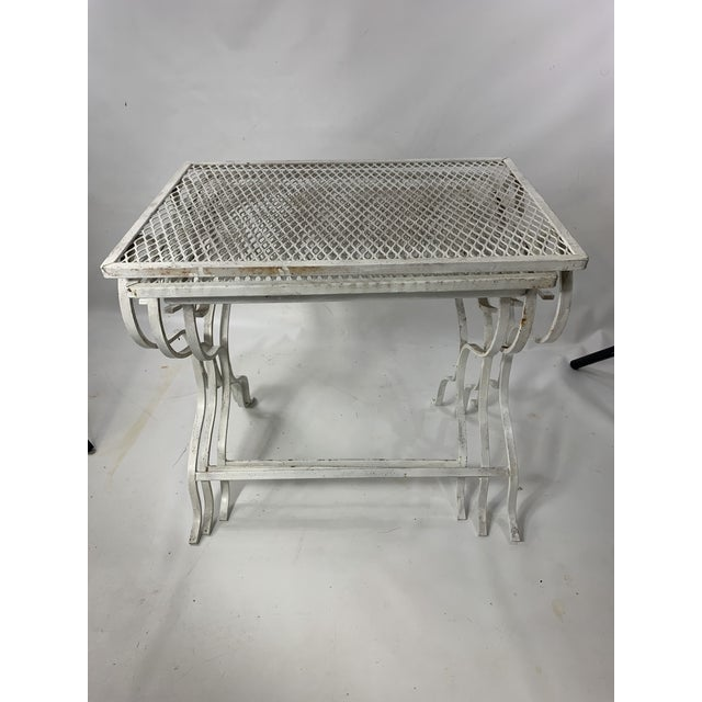 Metal 1950s Mid-Century Modern Salterini Tempestini Wrought Iron Nesting Tables - Set of 3 For Sale - Image 7 of 11