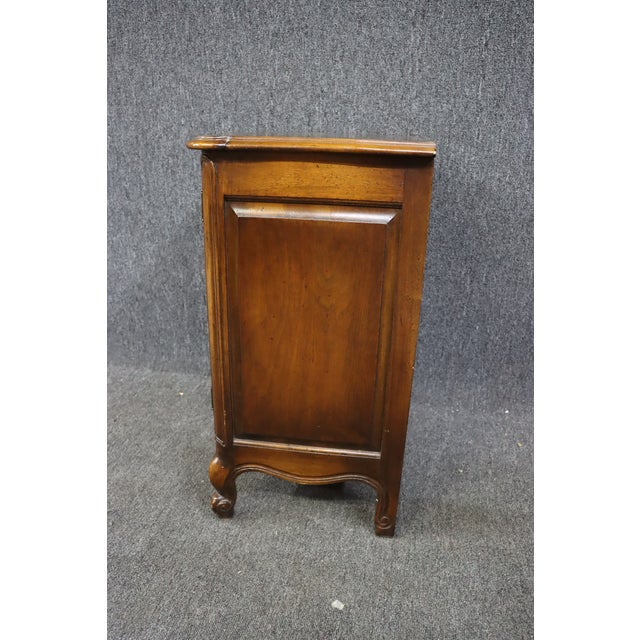Metal Louis XV Style Carved Cherry Nightstands - a Pair For Sale - Image 7 of 8