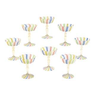 8 Handblown Venetian Latticino Multicolor Champagnes with Gold Leaf Inclusions For Sale