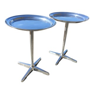 Polished Cast Aluminum Tray Top Side Tables - a Pair