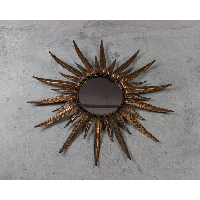 1940s Copper-Plated Sunburst Mirror For Sale - Image 5 of 8