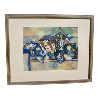 1960s Vintage American Cubist Painting For Sale
