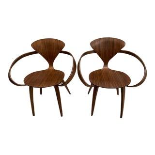 Modern Dwr Cherner Brown Armchair- A Pair For Sale