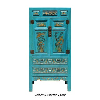Chinese Fujian Blue Golden Carving Graphic Armoire Storage Cabinet Preview