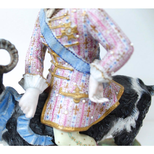 Late 19th Century Vion Et Baury Count Bruhl's Tailor, Bisque Porcelain Goat and Rider Figurine For Sale - Image 5 of 9