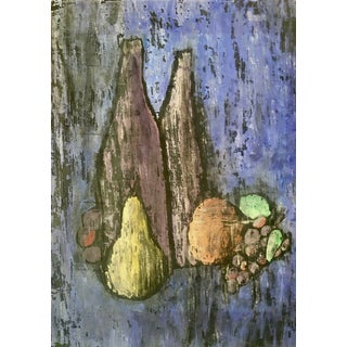 Still Life of Fruit and Bottles For Sale