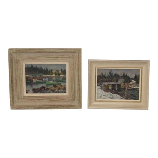 Mid Century Gordon Payne Canadian Scene Paintings- A Pair For Sale