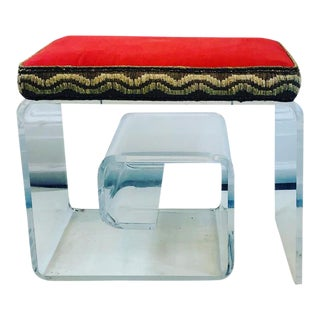 Exceptional Lucite Bench With Greek Key Design For Sale