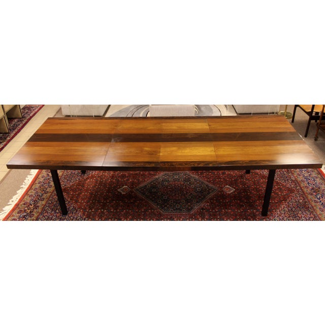 1960s Mid-Century Modern Milo Baughman for Directional Walnut Rosewood Dining Table For Sale In Detroit - Image 6 of 10