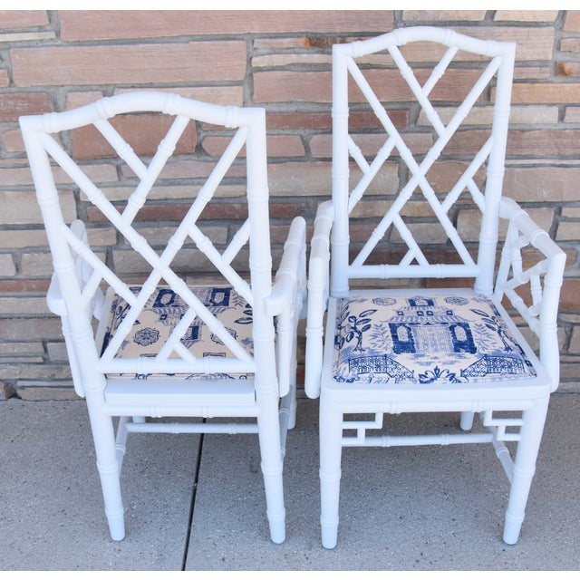 1950s Chinoiserie Faux-Bamboo Chippendale-Style Dinning Armchairs - Set of 6 For Sale - Image 10 of 13