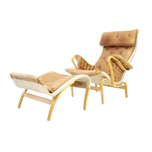 Bruno Mathsson Dux of Sweden Pernilla Chair & Ottoman f For Sale
