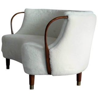 Danish Curved Sofa Model No. 96 in Lambswool by n.a.. Jørgensen For Sale