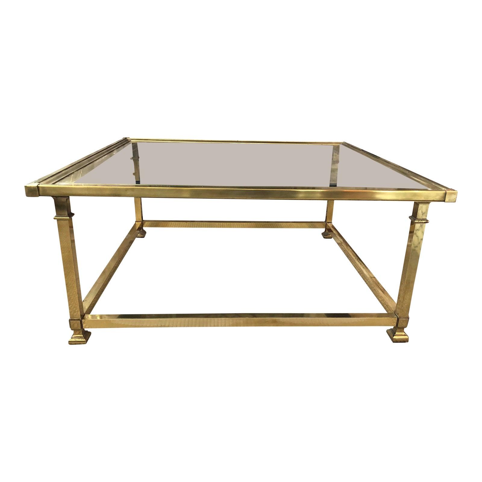 Brass glass coffee table chairish