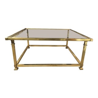 Brass & Glass Coffee Table For Sale