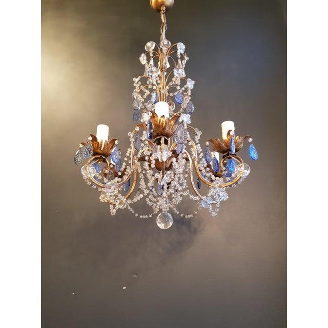 Crystal Fine Beaded Blue Crystal Chandelier Antique Ceiling Lamp Lustre Art Nouveau For Sale - Image 7 of 8