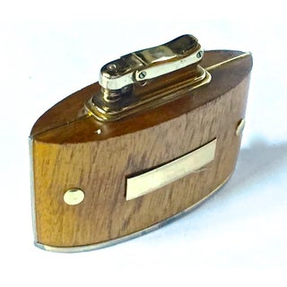 Mid-Century Modern Wood & Brass Cigarette Lighter Preview