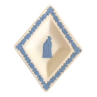70s Wedgwood Plate Tray Blue on White Diamond Shape Jasperware England Wedgewood Miniature Antique Vintage For Sale