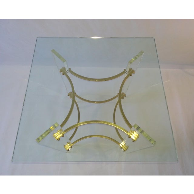 Hollywood Regency Vintage 1970's Lucite, Brass & Glass Coffee Table For Sale - Image 3 of 11