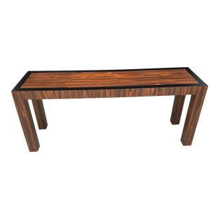 Mid Century Rosewood Laminate Parson Console Table For Sale