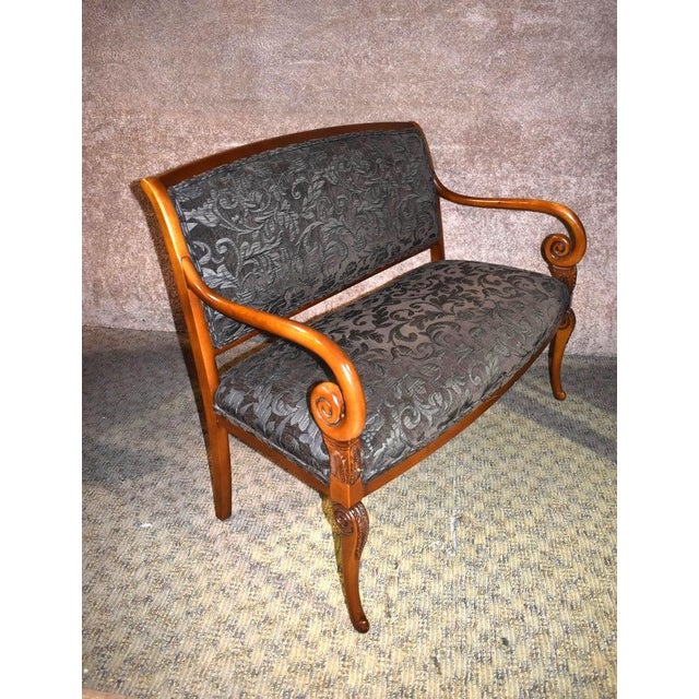 Settee has an Italian Provincial Style. Wood base. Raised Flocked Fabric in Forest Green and Pewter. The measurements:...