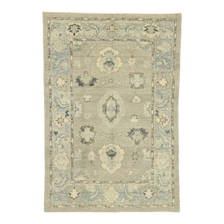 Contemporary Turkish Oushak Rug With Transitional Coastal Style - 06'01 X 08'11 For Sale