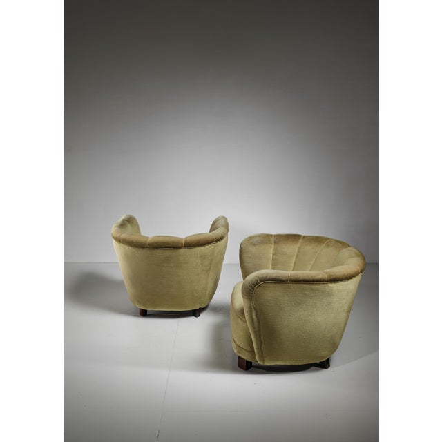 Pair of Club Chairs with Green Velour Upholstery, Denmark, 1940s For Sale - Image 4 of 5