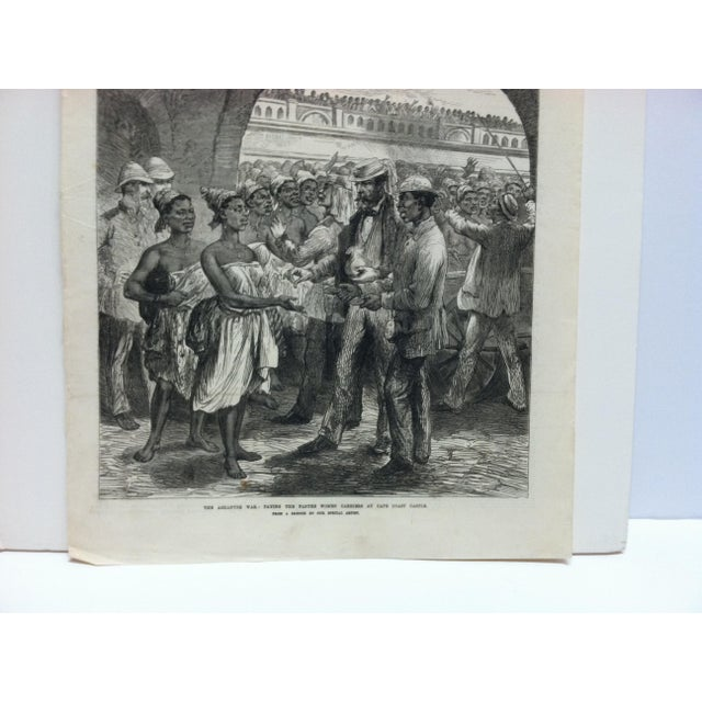 """English 1874 Antique Illustrated London News """"The Ashantee War: Paying the Fantee Women Carriers at Cape Coast Castle"""" Print For Sale - Image 3 of 5"""