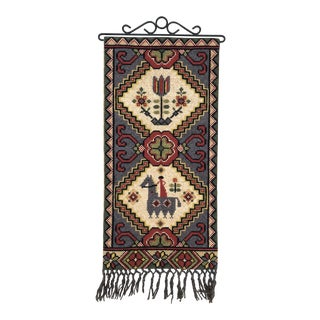 Vintage Swedish/Scandinavian Embroidered Folk Art Wall Hanging For Sale