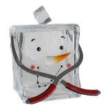 Image of Vintage Lucite Snowman Cube Ice Bucket With Retro Ice Tongs Handle For Sale
