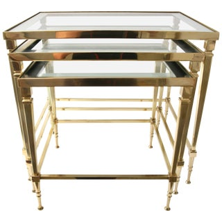 Mid-Century French 3 Nesting Tables in Polished Brass & Glass by Maison Jansen For Sale