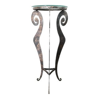 Post Modern Metal Tri Leg Pedestal Table For Sale