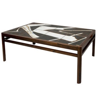 Danish Rosewood Abstract Tile Coffee Table For Sale