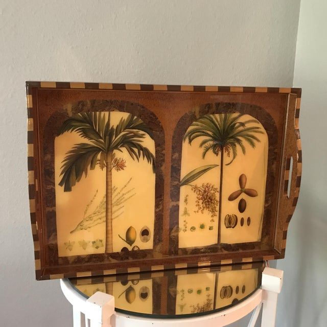 """Traditional Exquisite """"Palm Ii"""" Signed Lacquer Palm Tray For Sale - Image 3 of 4"""