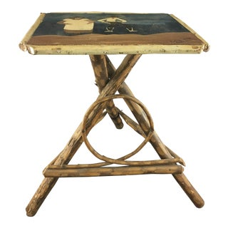 Folk Art Grapevine Table with Hand Painted Top