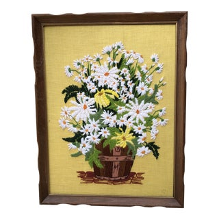 Vintage Framed Daisy Needlepoint For Sale
