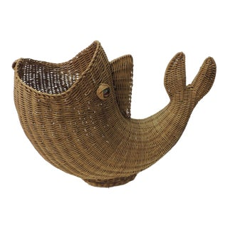 Large Vintage Rattan Artisanal Cornucopia Fish With Glass Eyes For Sale