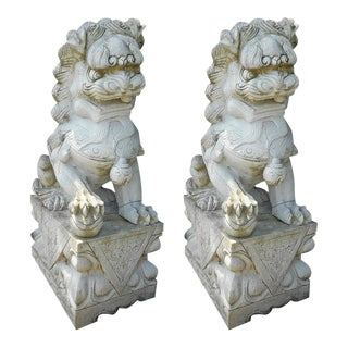 Marble Chinese Foo Dog Statues - a Pair
