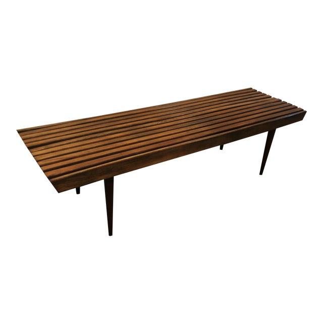 Mid-Century Danish Modern Walnut Slat Bench Coffee Table - Image 1 of 10