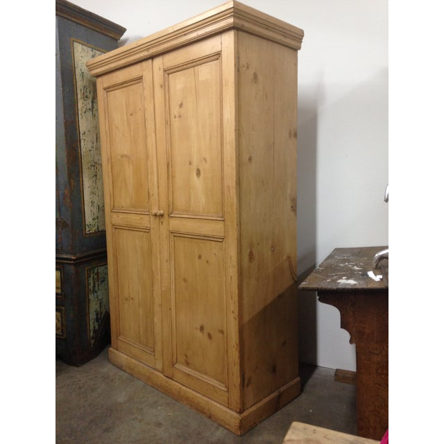 Country Antique Unpainted Rustic Pine Armoire For Sale - Image 3 of 11